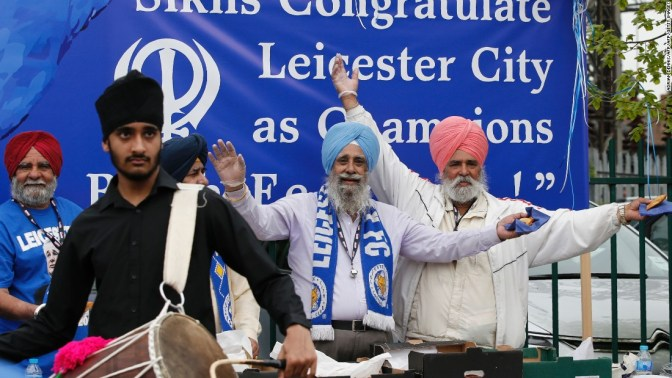 Sikh Leicester fans pose before the match. Leicester is one of the most diverse cities in the UK.