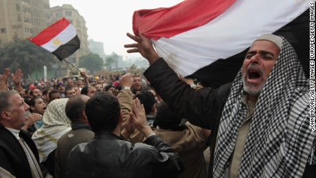Anti-government demonstrators chant for freedom in Tahrir Square, Cairo, on February 7, 2011.