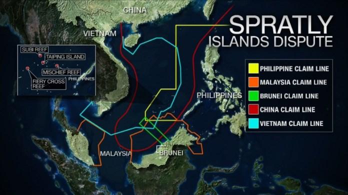 Risultati immagini per south and east china sea map spratly