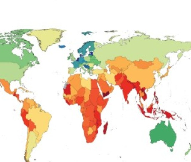 This Map Shows The Distribution Of The Worlds Height According To