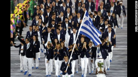 Bekatorou carries her country's flag during the Opening Ceremony of the Rio 2016 Olympic Games at Maracana Stadium on August 5, 2016 in Rio de Janeiro, Brazil.