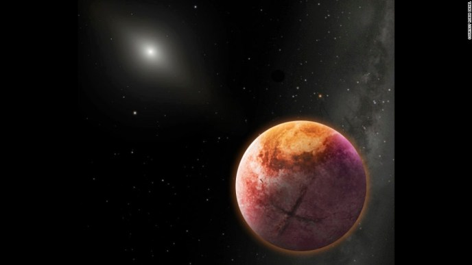 An artist's conception of Planet Nine, which would be the farthest planet within our solar system. The similar cluster orbits of extreme objects on the edge of our solar system suggest a massive planet is located there.