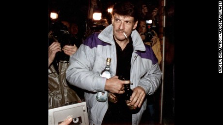 A file image shows Christer Pettersson after he was acquitted on appeal in 1989 of Palme's murder.