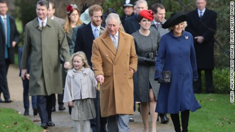 Members of the royal family including Prince Harry, Prince Charles and Camilla, Duchess of Cornwall attending a Christmas Day service at Sandringham in 2016.