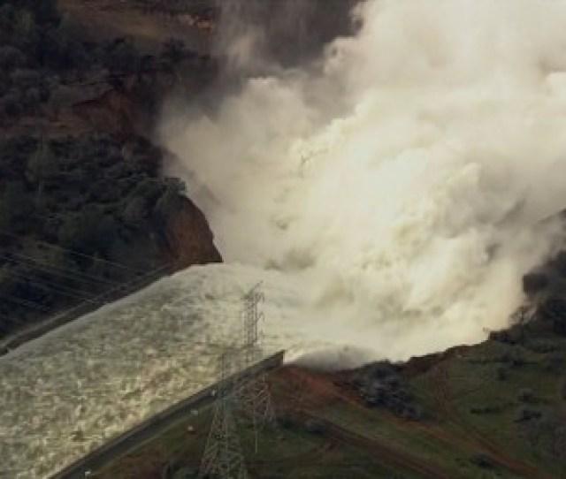 See Water Roar Down Oroville Dam Spillway