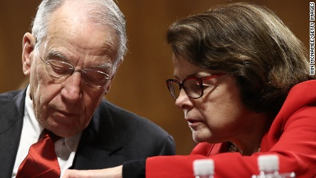 Senate judiciary committee Chairman Chuck Grassley, at left, an Iowa Republican, and Sen. Dianne Feinstein, the top Democrat on the committee