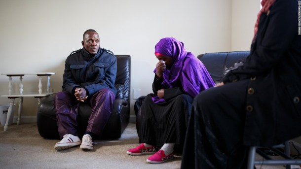 Speaking through an interpreter at a press conference in suburban Atlanta, Abdalla and Habibo plead for help.