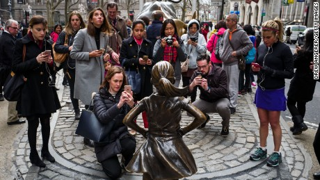 """It's not a monument, but the """"Fearless Girl"""" sculpture was a sensation when it debuted near New York's Wall Street in 2017."""