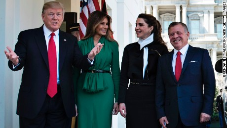 US President Donald Trump and first lady Melania Trump welcome Jordan's Queen Rania and King Abdullah II outside the West Wing of the White House in April 2017.