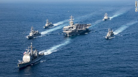 US flexes naval muscle in Asia ahead of Trump's visit