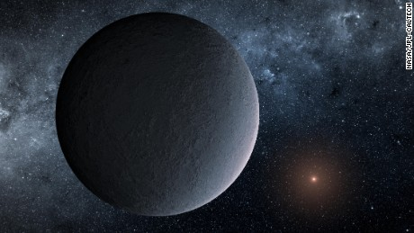 This artist's concept shows OGLE-2016-BLG-1195Lb, a planet discovered through a technique called microlensing.