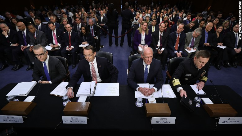 Image result for Intel chiefs tell investigators Trump suggested they refute collusion with Russians