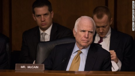 Sen. McCain listens as former FBI Director James Comey testifies in front of the Senate Russia hearing.