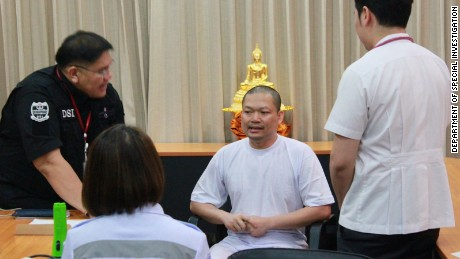 Former monk Wiraphon Sukphon arrives back in Bangkok following his extradition from the United States in July 2017.
