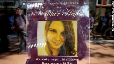 A poster at a memorial service for Heather Heyer.