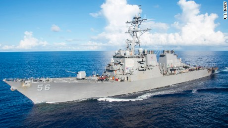 The Arleigh Burke-class guided-missile destroyer USS John S. McCain.