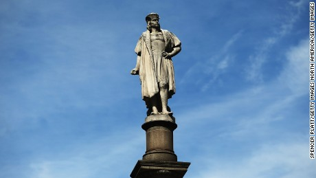 A 76-foot statue of explorer Christopher Columbus stands in Columbus Circle in New York City.