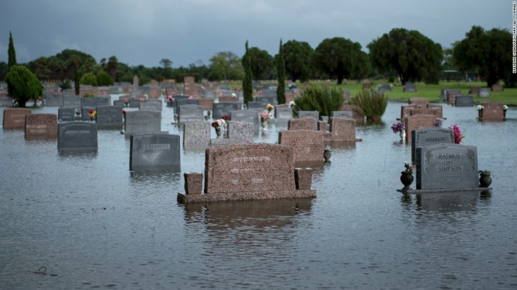 A graveyard is flooded in Pearland, Texas, on August 27, 2017, after Hurricane Harvey.