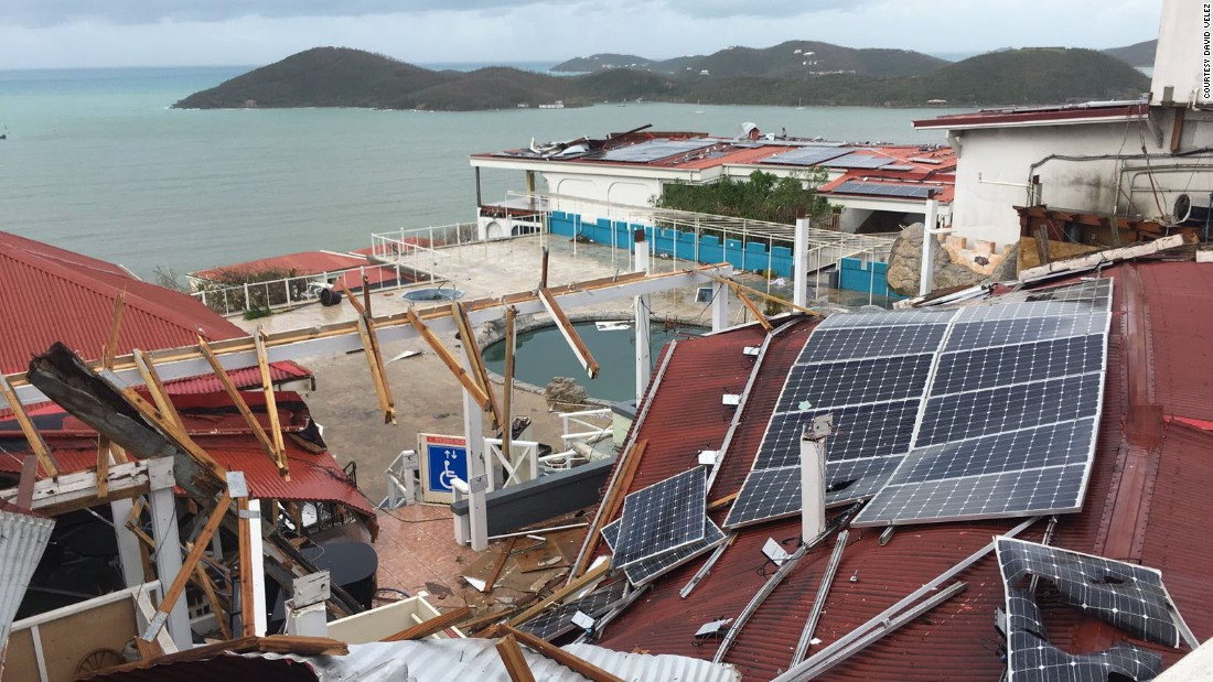 Image result for Solar panel field in Virgin Islands after Hurricane Irma.