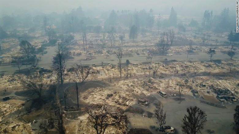 This Santa Rosa, California, neighborhood was destroyed by a wildfire on October 10, 2017.