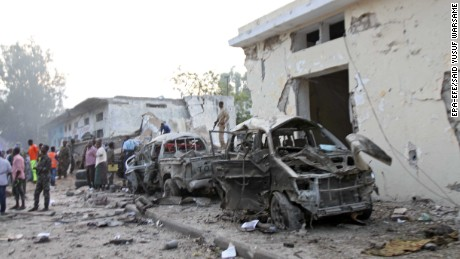 A car bomb attack in Mogadishu, Somalia, on Saturday left at least 10 dead, police said.