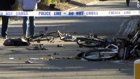 Parts of mangled bikes are strewn on the ground in Manhattan on Tuesday.