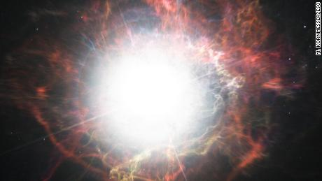 This artist's impression shows dust forming in the environment around a supernova explosion. VLT observations have shown that these cosmic dust factories make their grains in a two-stage process, starting soon after the explosion, but continuing long afterwards.