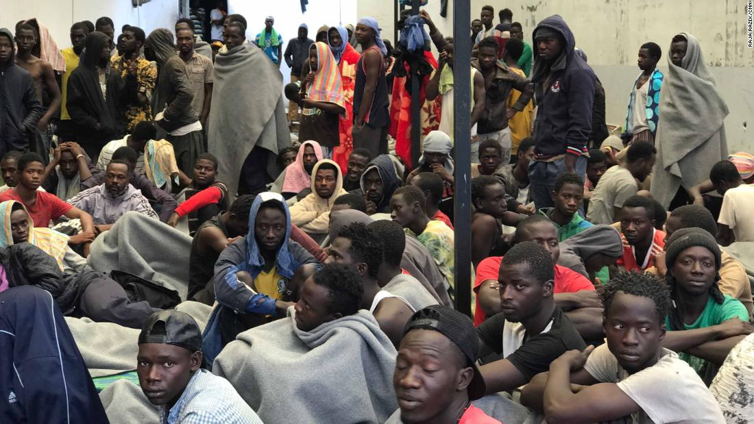 The Treeq Alsika Migrant Detention Center in Tripoli, where some migrants are held by Libyan authorities before they are repatriated.
