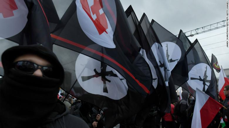 Far-right marchers waved flags as they took part in the march.