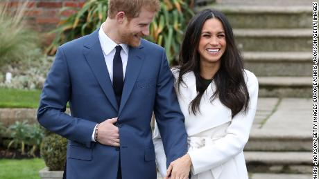 Prince Harry and Meghan Markle at Kensington Palace on November 27, 2017, when they announced their engagement.
