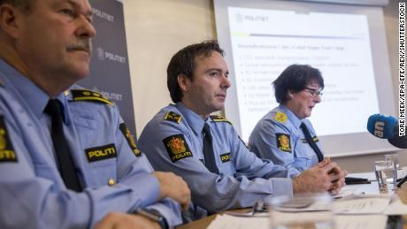 Norwegian police officials Aslak Finvik, Oeyvind A. Rengard and Tone Vangen (left to right) spoke to the press on Tuesday about the investigation.