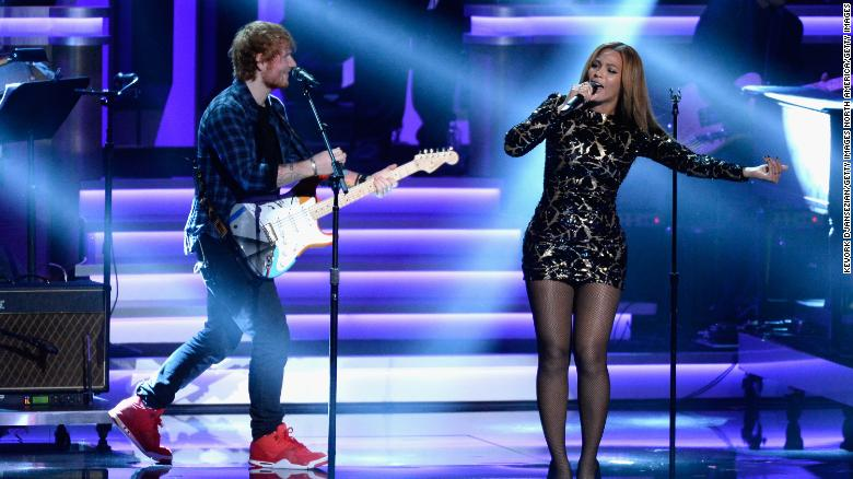 Ed Sheeran and Beyoncé perform onstage during the Grammys' Stevie Wonder tribute in 2015.