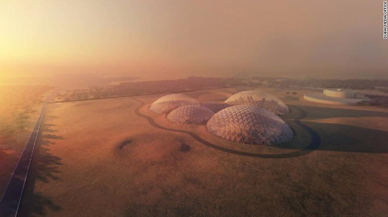 A render of the Bjarke Ingels Group-deisgned Mars Science City, planned for Dubai.