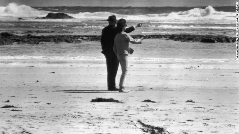 Mrs Gillespie points to the place she last saw Australian Prime Minister Harold Holt in December 1967.
