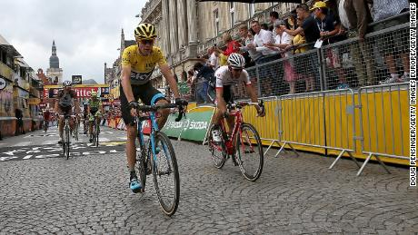 Froome and Tony Martin of Germany are pictured in action during the 2015 Tour de France.