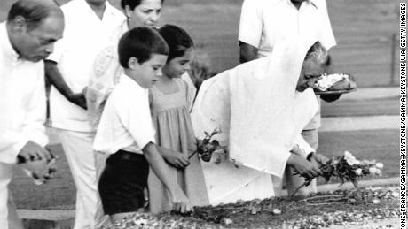 Indira Gandhi, accompanied by her grandchildren Rahul Gandhi and Priyanka Gandhi, Delhi, India, on May 27, 1980.
