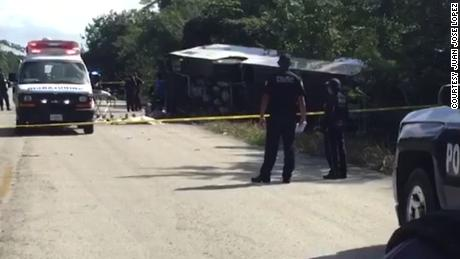 Authorities are at the scene of Tuesday's bus crash in Mexico's Quintana Roo state.