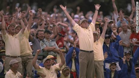 Thomas Bjorn celebrates a European point with his teammates at the 1997 Ryder Cup
