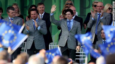 More EU flags on show at the 2012 Ryder Cup opening ceremony at Medinah