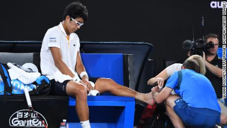 Hyeon Chung receives a medical timeout.