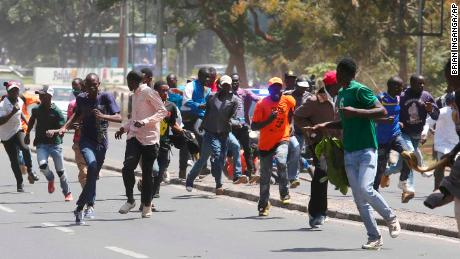 Police use tear gas to disrupt opposition supporters in Nairobi on Tuesday.