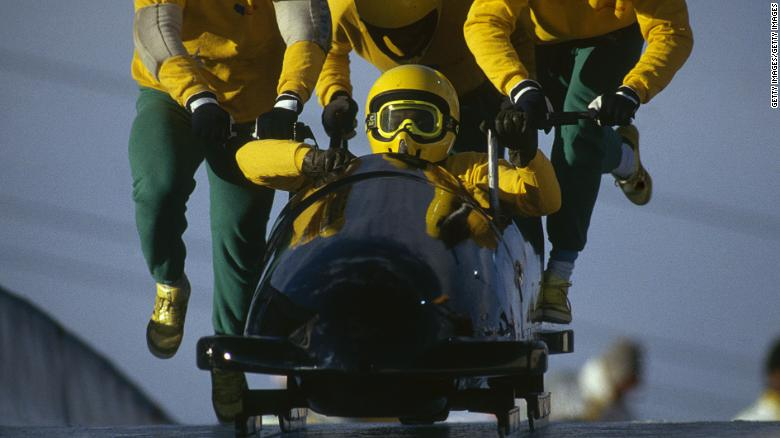 """The Jamaican bobsled team at Calgary in 1988 inspired the film """"Cool Runnings."""""""