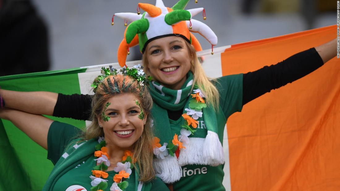 Irish fans celebrate in the Stade de France.