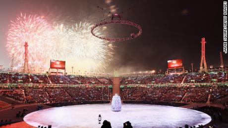 Fireworks explode during the Opening Ceremony of the PyeongChang 2018.