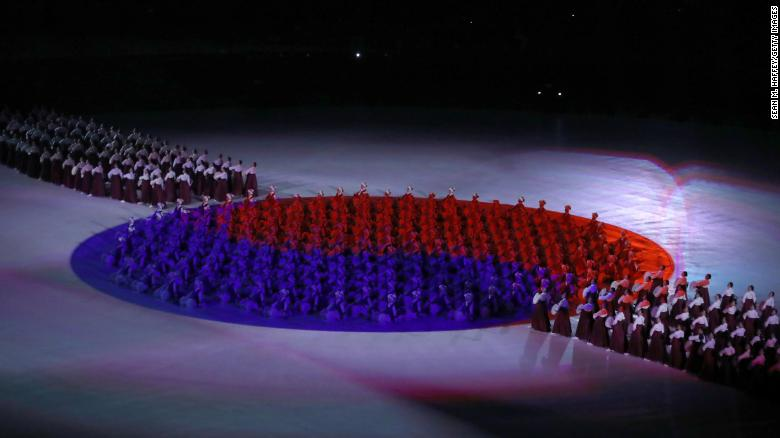 """The South Korean flag """"Taegeukgi"""" is seen during the Opening Ceremony of the PyeongChang."""