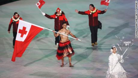 Despite the cold, Taufatofua went shirtless at the PyeongChang 2018 Winter Olympic Games opening ceremony.