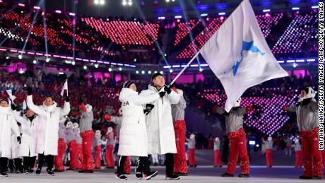 The North Korea and South Korea Olympic teams enter together under the Korean Unification Flag during the Parade of Athletes during the Opening Ceremony of the PyeongChang 2018 Winter Olympic Games