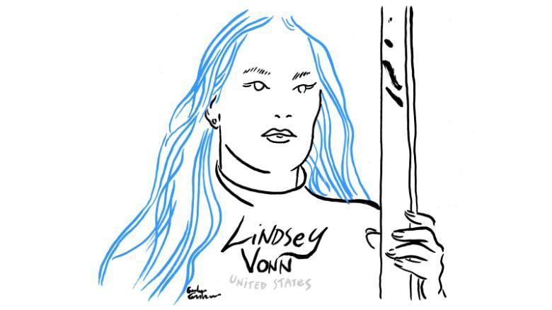 Lindsey Vonn sketch downhill training Olympics