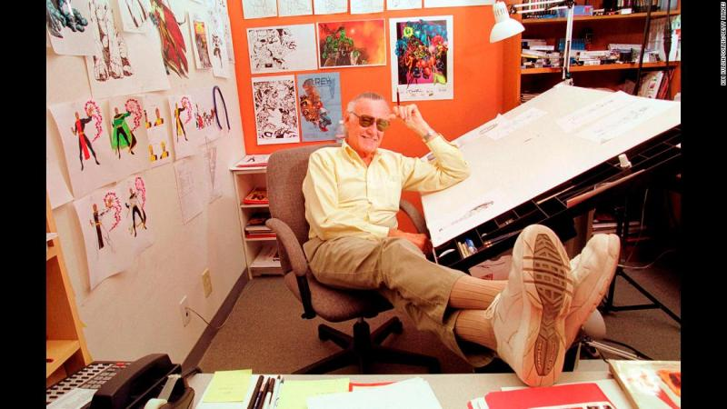 """Lee relaxes in his Los Angeles office. Lee championed close collaboration between comic book writers and artists. The collaborative approach was known as the """"Marvel Method."""" In 2010, he told CNN, """"All of my life in comics I have worked with artists, so I've collaborated with them. I would write down the original story, they would draw it and then I would edit it and do the art direction. So everything I've done has always been a collaboration."""""""