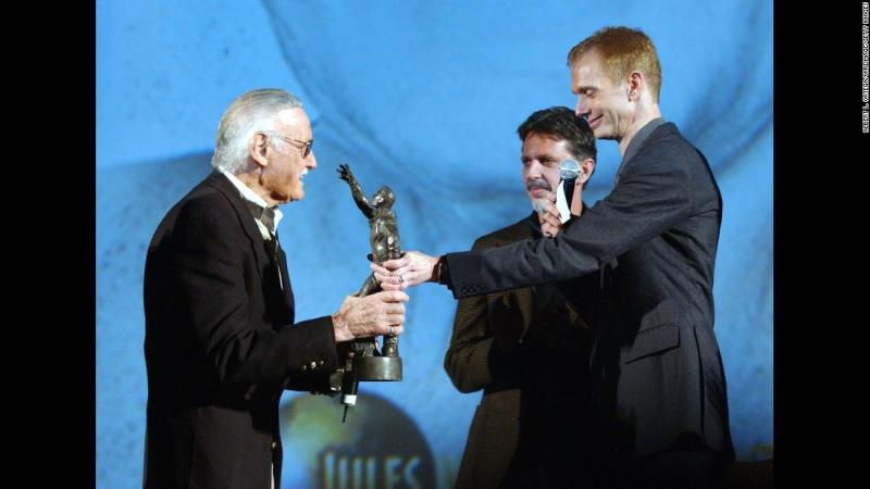 Lee gets a lifetime achievement award at the Jules Verne Adventure Film Festival in 2007.